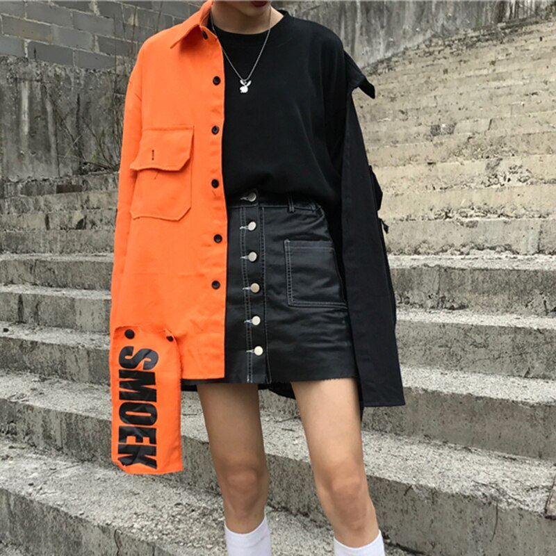 Spring streetwear New loose Patchwork women jacket Harajuku letter plus size coat female top BF Style Jackets New NZY116