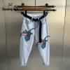 Straight Denims Little Elephant Embroidery Patchwork Korean Unfasten