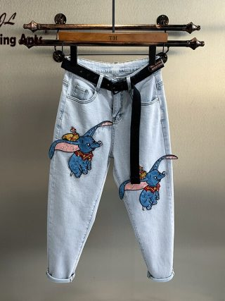 Straight Denims Little Elephant Embroidery Patchwork Korean Unfasten