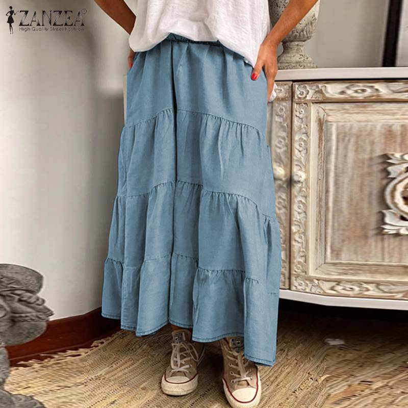 ZANZEA Women Long Skirts Vintage Ruffles High Waist Maxi Faldas Saia Casual Solid Holiday Loose Female Cake Skirt Plus Size 5XL 1