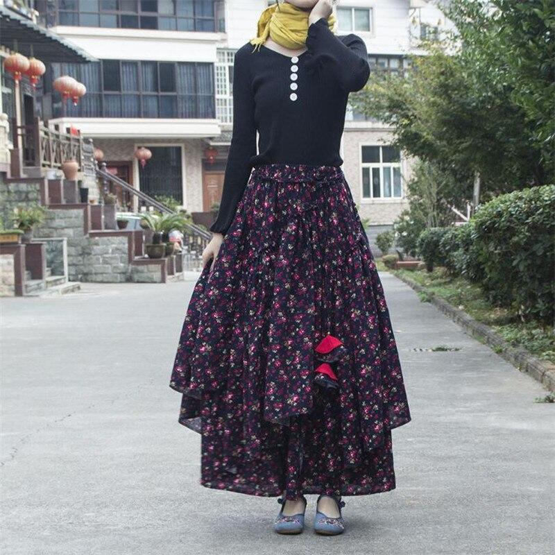 Women Ethnic style cotton linen Long Skirts Elastic Waist Floral print Maxi Skirts Vintage autumn winter Female irregular Skirts 3