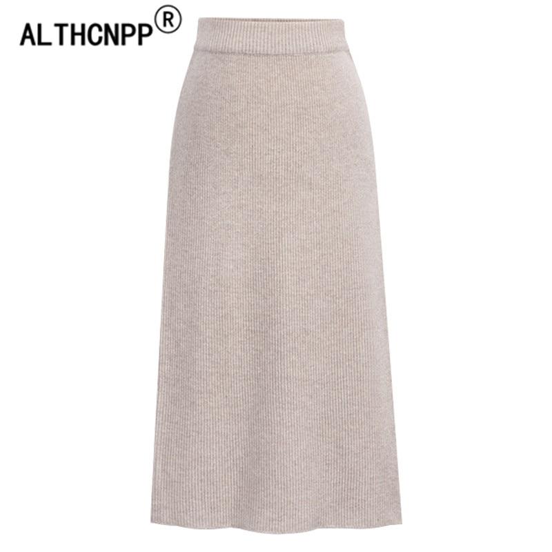 Plus Size M-6XL Winter Knitted Bodycon Pencil Skirt High Waist Skirts Womens Streetwear Split Long Skirt Female Faldas Mujer 4
