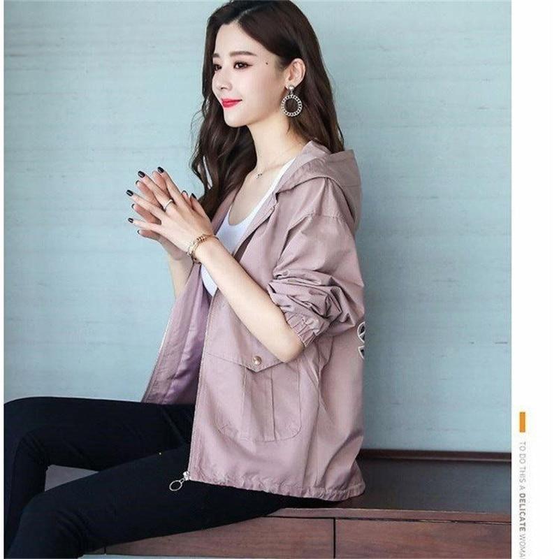 2020 New Women Jackets Autumn Windbreaker Female Long Sleeve Casual Hooded Jacket Zipper Lightweight Outwear Plus Size P713 4