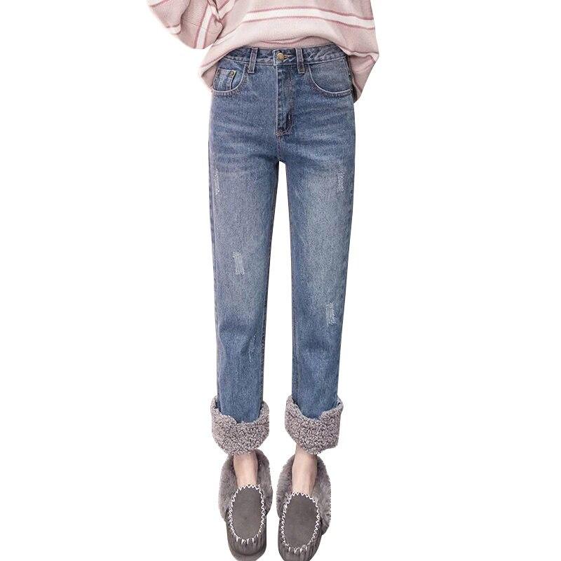 Plus Size 3XL Warm Winter Jeans Women Lambs Wool Stitching High Waist Jeans Woman Plus Velvet Straight Jeans Denim Pants C5949 3