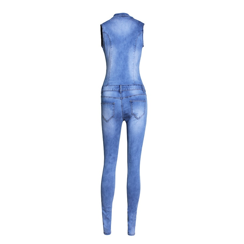 Womens Jeans Jumpsuit Sexy Bodycon washed white Pockets Overalls Denim Sleeveless Club Wear Jumpsuits Ladies Rompers 4