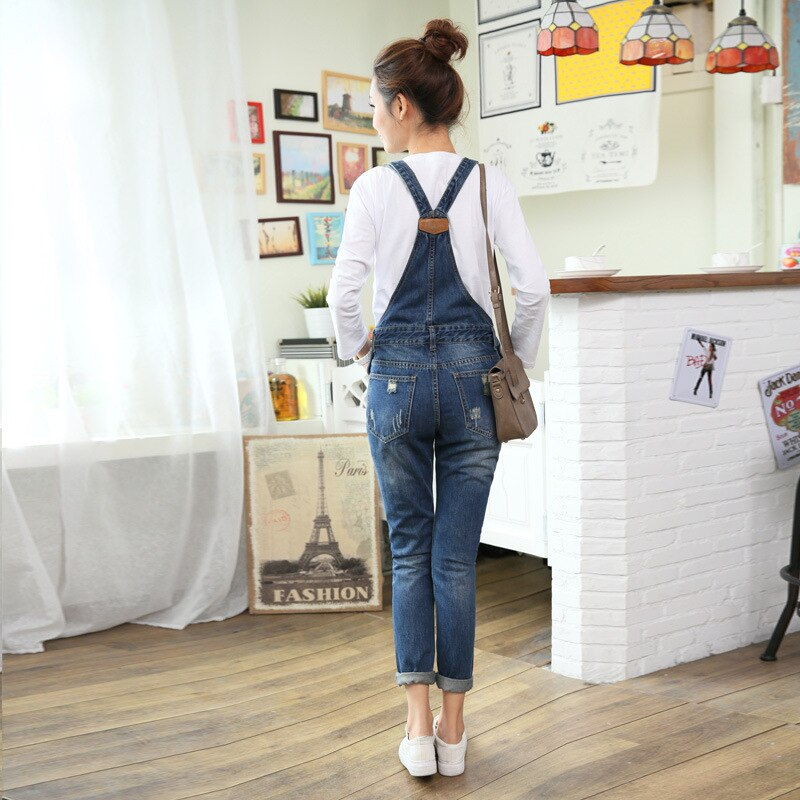 Womens Jumpsuit Denim Overalls Autumn Winter Casual Ripped Hole Loose Pants Ripped Pockets Jeans Washed Fashion Rompers 2