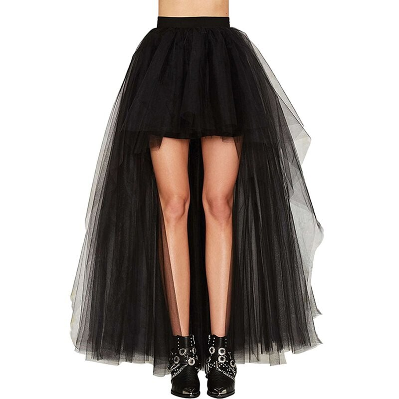 Summer Elegant Gothic Sexy Club Chic Tulle Women Long Skirts Casual Mesh Solid Black Office Lady Goth Female Fashion Maxi Skirt 1