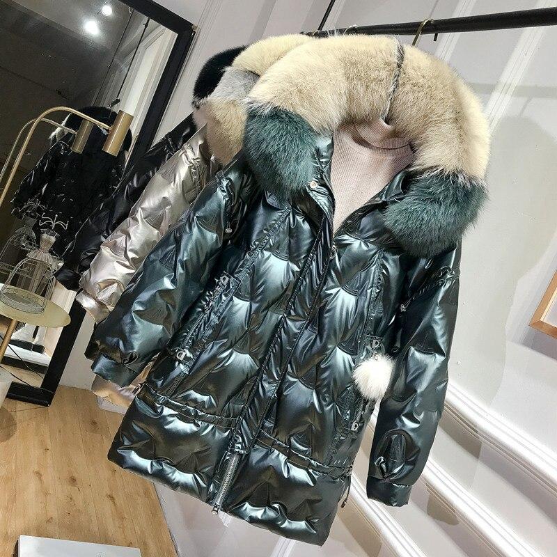 Winter Duck Down Jacket Women Hooded Big Fox Fur Collar Puffer Down Coat Korean Shiny Womens Down Jackets 2020 KJ3721 1