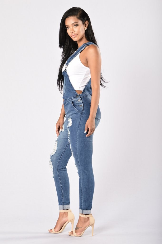 QMGOOD 2018 Denim Women's Overalls High Waist Ripped Jeans Woman Jumpsuits Stretch Denim Pants Female Torn Jumper Trousers 3XL 3