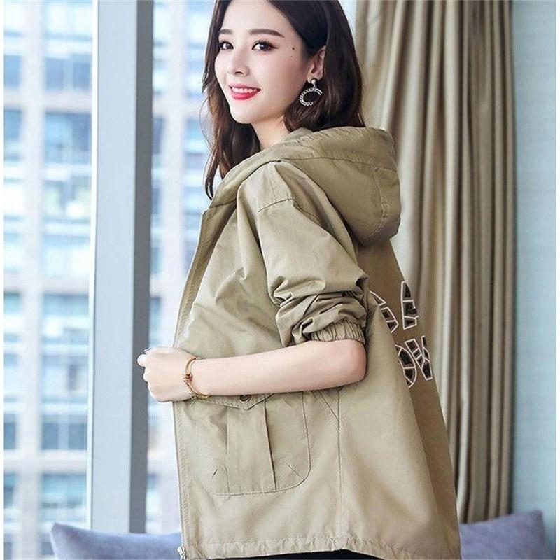2020 New Women Jackets Autumn Windbreaker Female Long Sleeve Casual Hooded Jacket Zipper Lightweight Outwear Plus Size P713 3