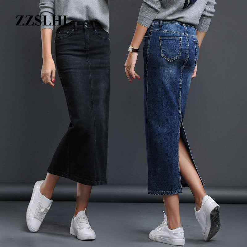 Classic Denim Skirt Woman Long Jeans Skirt Split High Waist Skirts Womens 2020 Women Skirt Washed Jupe Femme Black Blue 1