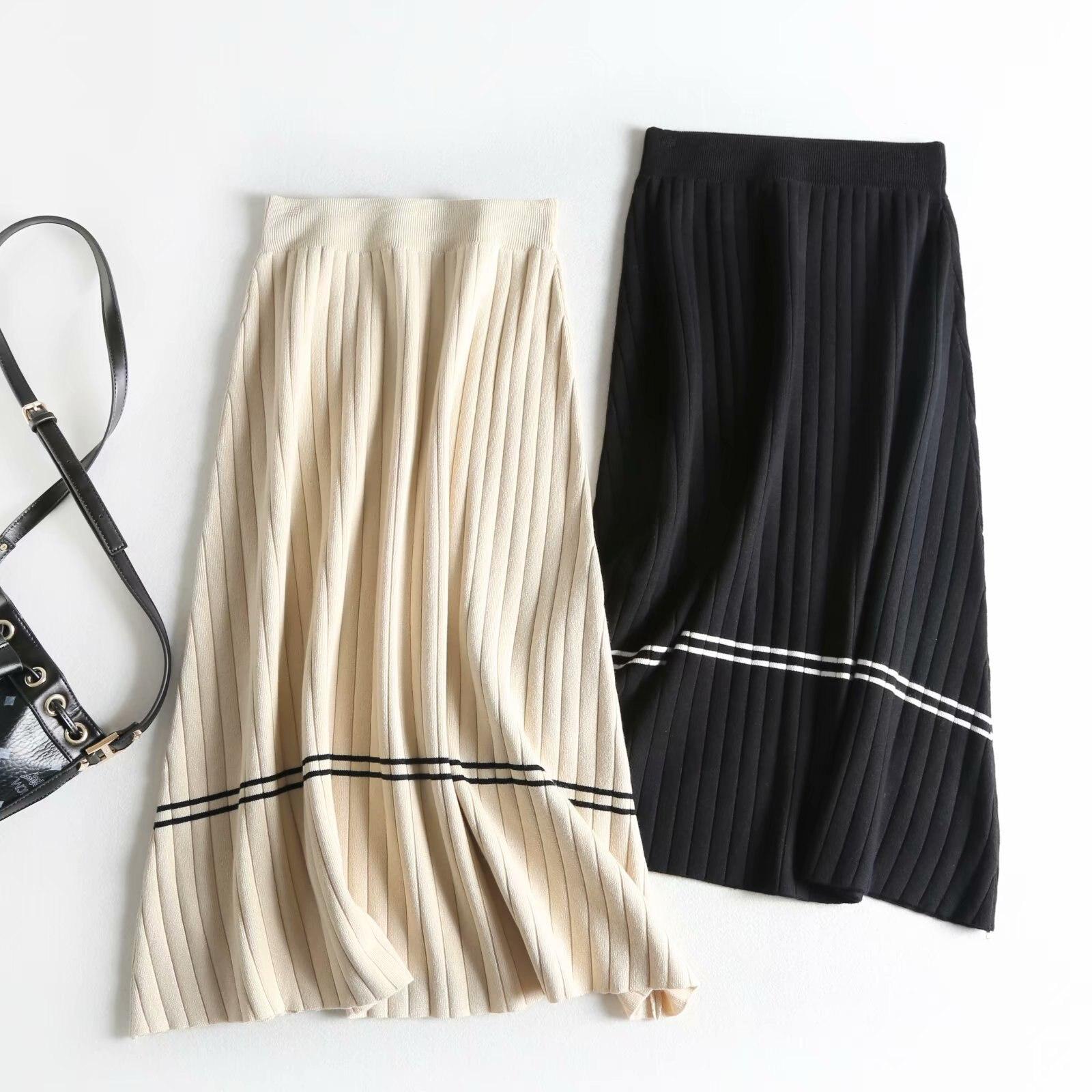 High Waist Women Spring Skirts Vintage Knitting Women Long Skirt Faldas Jupe Femme Women Beige Black Skirt Saia