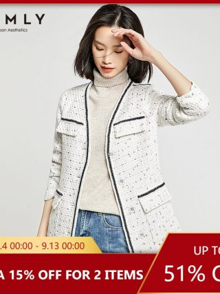 Vimly Ladies Jacket Elegant Workplace Girl Single Breasted Patchwork