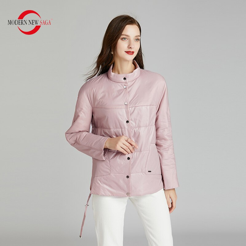 MODERN NEW SAGA 2020 Spring Women Jacket Thin Cotton Padded Jacket Autumn Women Coat Standed Collar Puffer Jacket Women Green 3