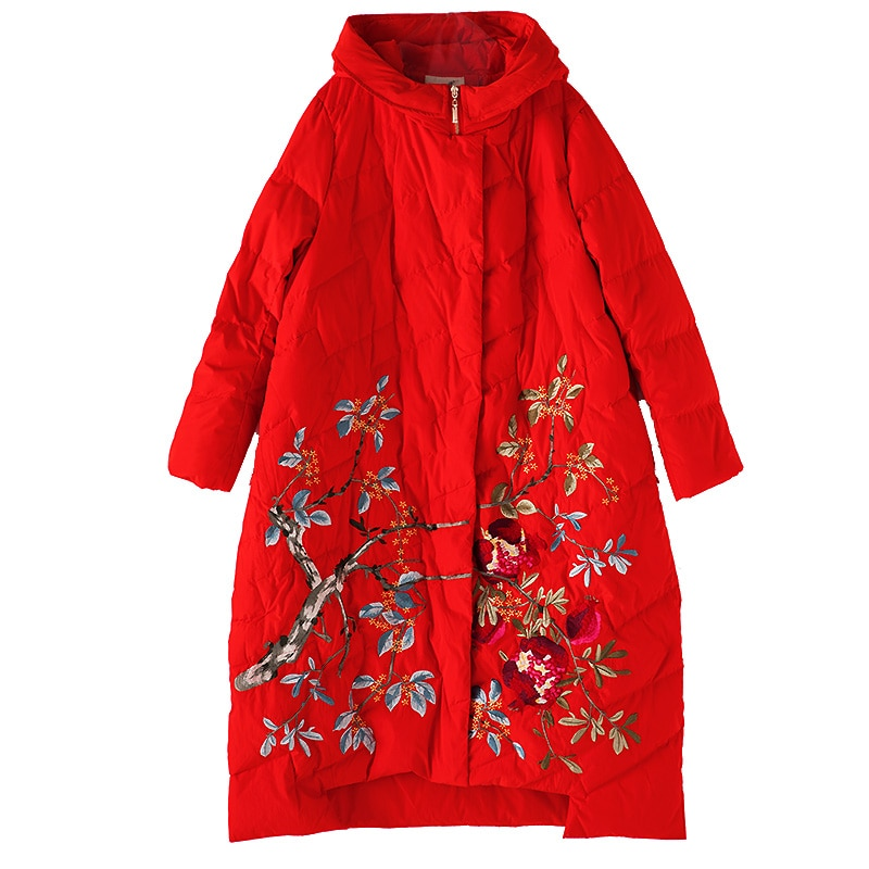 Winter White Duck Down Down Coat Chinese Style Embroidery Flower Hooded Fashion Loose Women's down jacket Plus Size 2XL-4XL 3