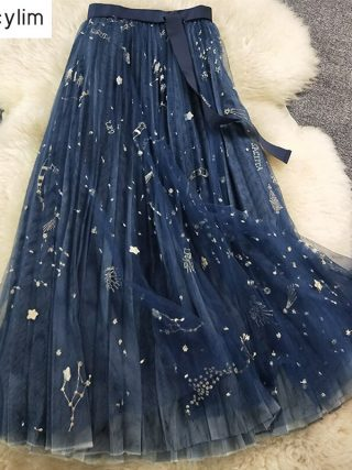 Heavy Constellation Star Embroidered Multi-level Mesh Skirt Ladies