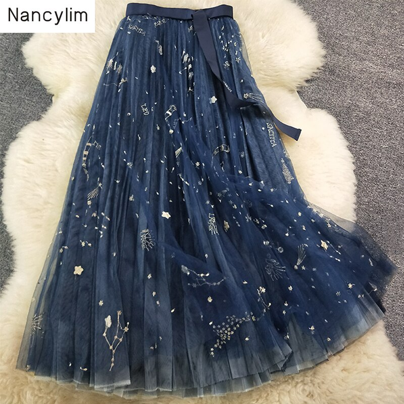 Heavy Constellation Star Embroidered Multi-level Mesh Skirt Women Long Skirt 2019 Spring Autumn Ladies Mesh Skirt Nancylim Brand