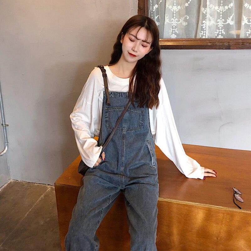 2020 Summer Women Cotton Loose Waist Straight Adjustable Shoulder Straps Washed Hole Ankle-Length Jeans Overalls K20