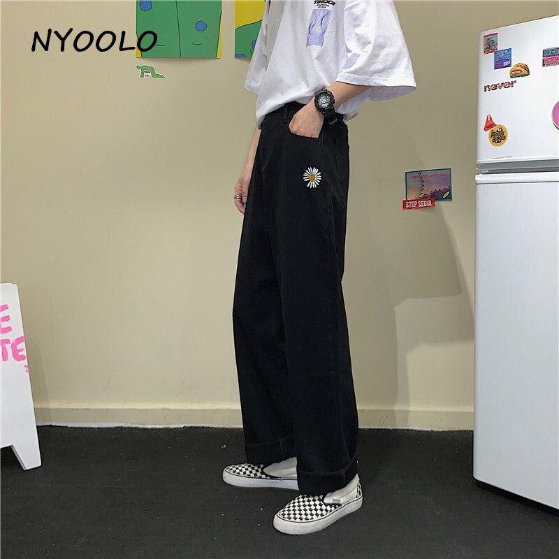 NYOOLO Harajuku style ulzzang daisy embroidery denim pants women men Casual streetwear high waist full length Straight jeans 4