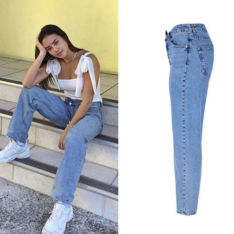 2020 High Waist Jeans Woman Casual Loose Women Denim Pants Straight Cotton Vintage Boyfriend Jeans Chic Long Trousers Streetwear 3