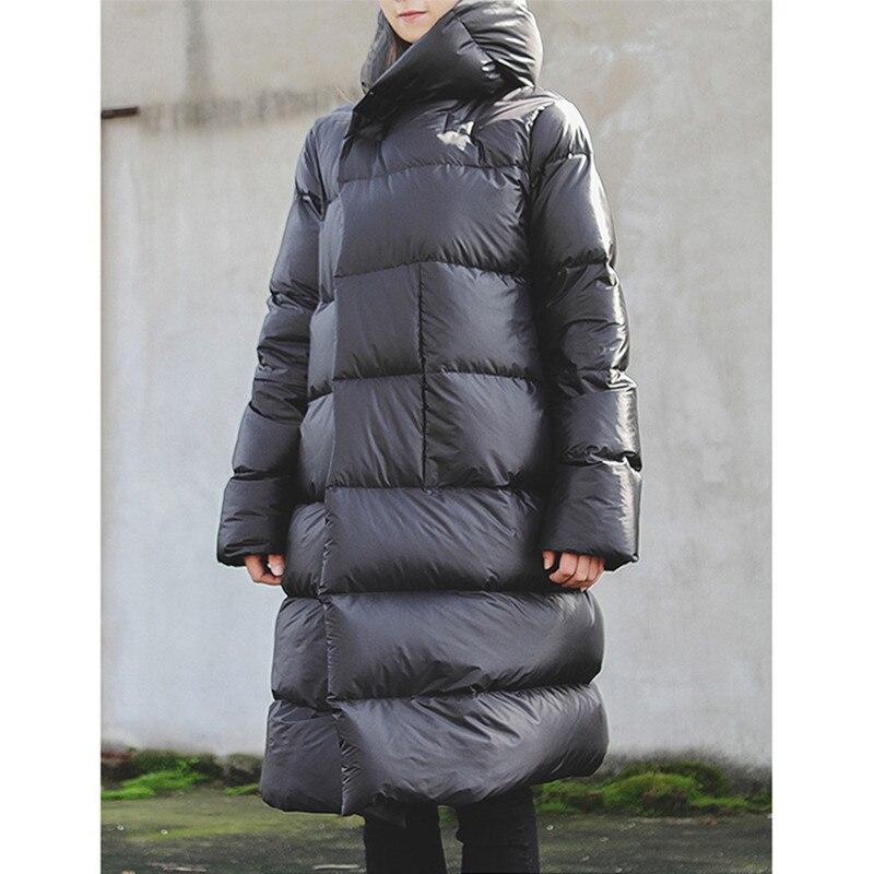 WSYORE Long Parka Women Black Down Jacket Female Winter New Dark Wind Long Down Coat Loose Hooded Warm Bread Jackets NS856 2