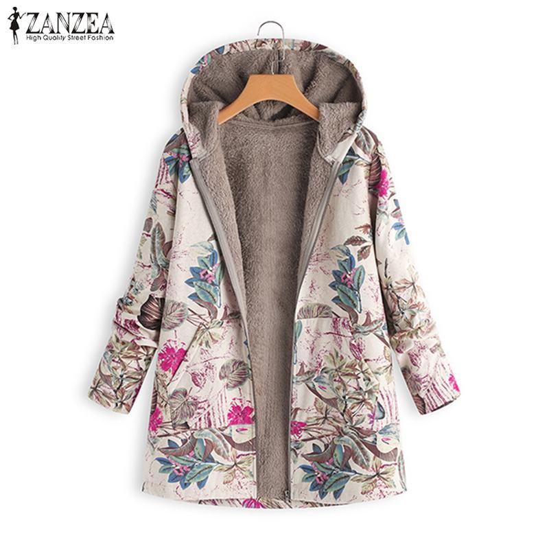 2020 ZANZEA Autumn Winter Warm Print Coat Fur Lining Women's Jackets Female Long Sleeve Hooded Outerwear Zipper Cardigans Tunic 3