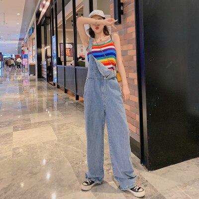 Harajuku Wide Leg Women's Jeans Plus Size 2020 Loose Woman Overalls Jeans Jumpsuit Autumn Fashion Blue Rompers Female Jeans 1
