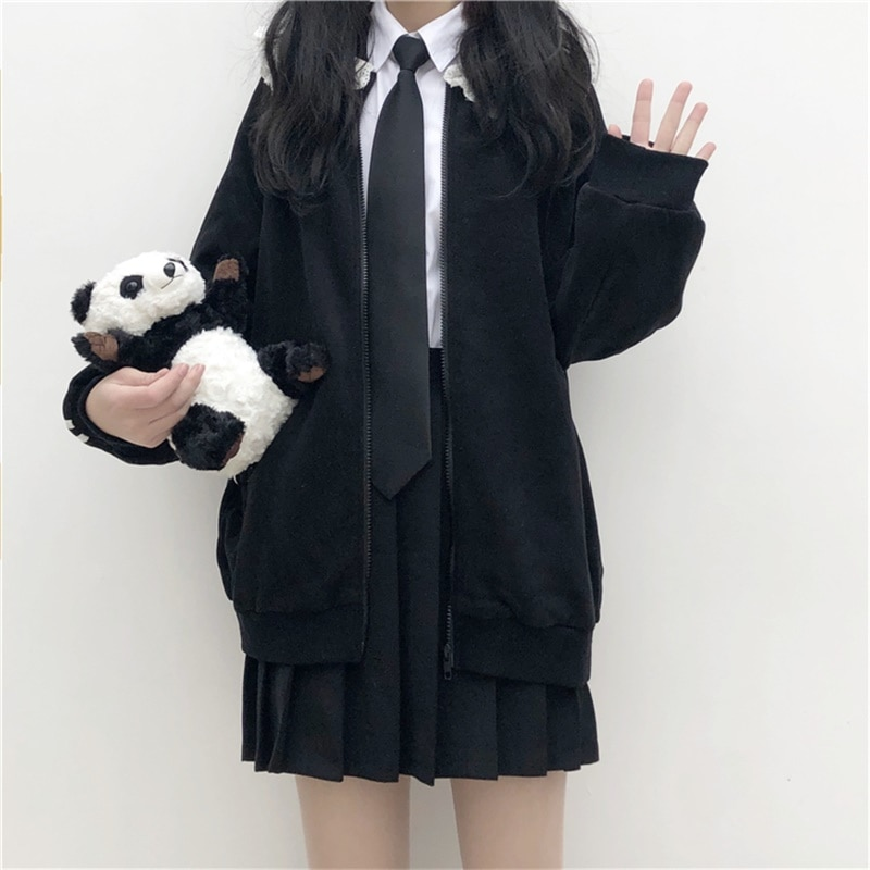 Japanese Preppy Style Sweet Soft Girly Black Zip JK Women Jacket 2020 Autumn Cardigan Peter Pan Collar Full Sleeve Ladies Coats 1