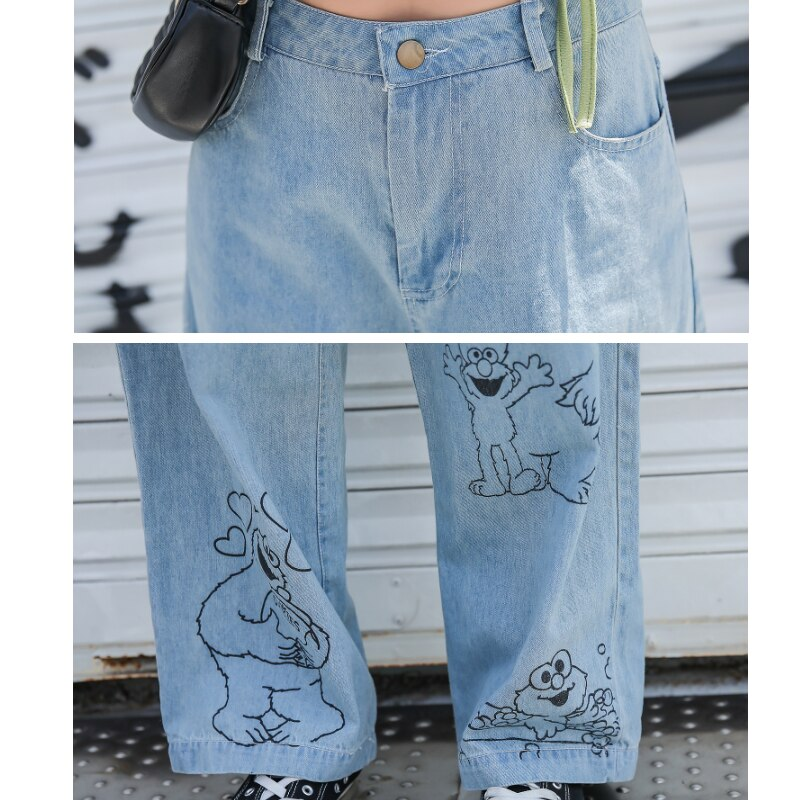 Vintage Washed Korean Long High Waisted Wide Leg Jeans For Women Cartoon Print Baggy Straight Jeans Female Loose Boyfriend Jeans 4