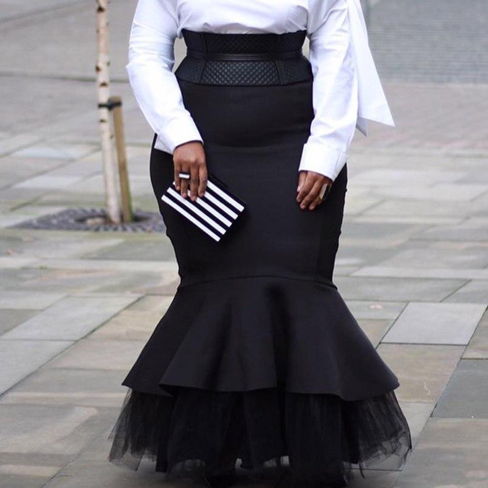 4XL 5XL Plus Size Skirts 2020 Autumn Winter Women Long Skirts Vintage Evening Party African Ladies Mesh Patchwork Mermaid C 3