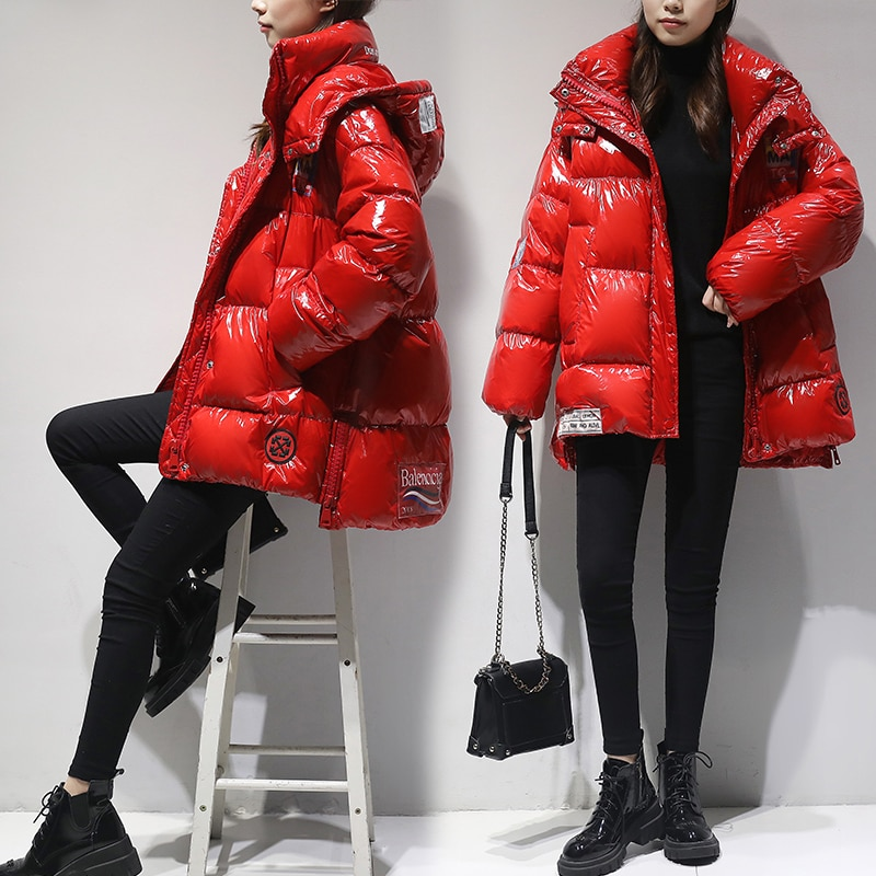 High Quality Glossy Down Parkas Coat Winter Jacket Womens Warm Hooded Down Jacket Red/Black Glossy Winter White Duck Down Coats 2
