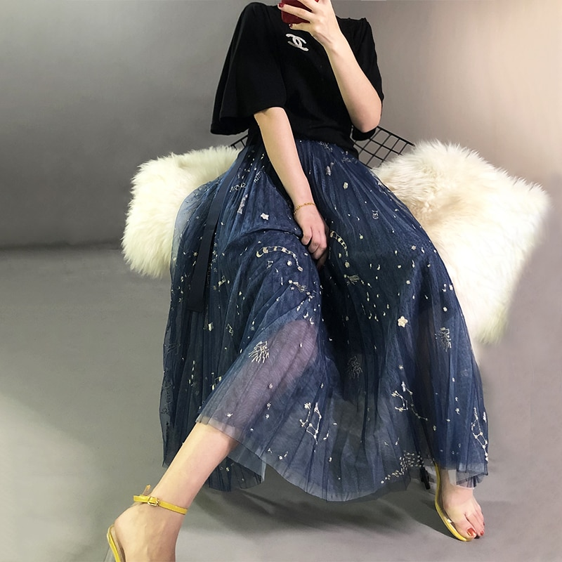 Heavy Constellation Star Embroidered Multi-level Mesh Skirt Women Long Skirt 2019 Spring Autumn Ladies Mesh Skirt Nancylim Brand 3