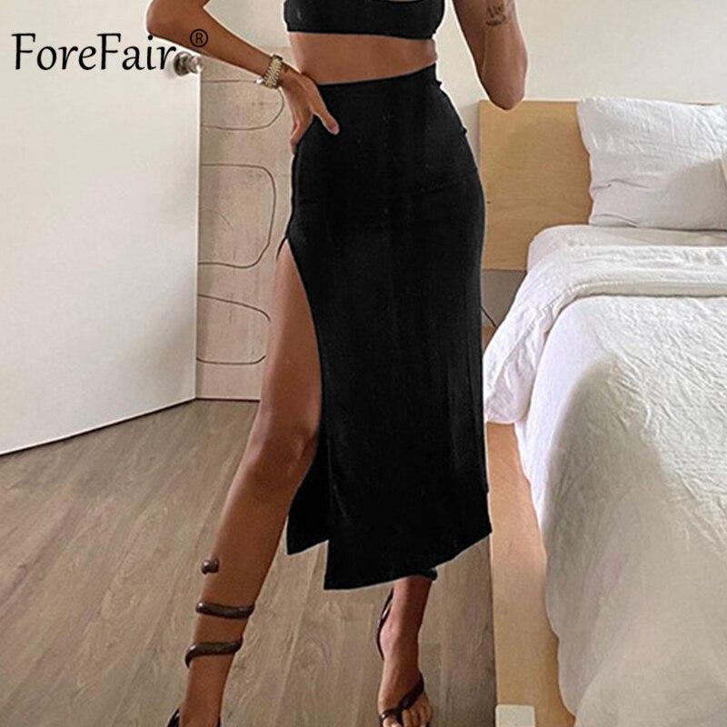 Forefair Women Long Skirts High Split High Waist Black Sexy Skinny Simple Design Knitted Elegant Fashion Female Mid-Calf Skirts