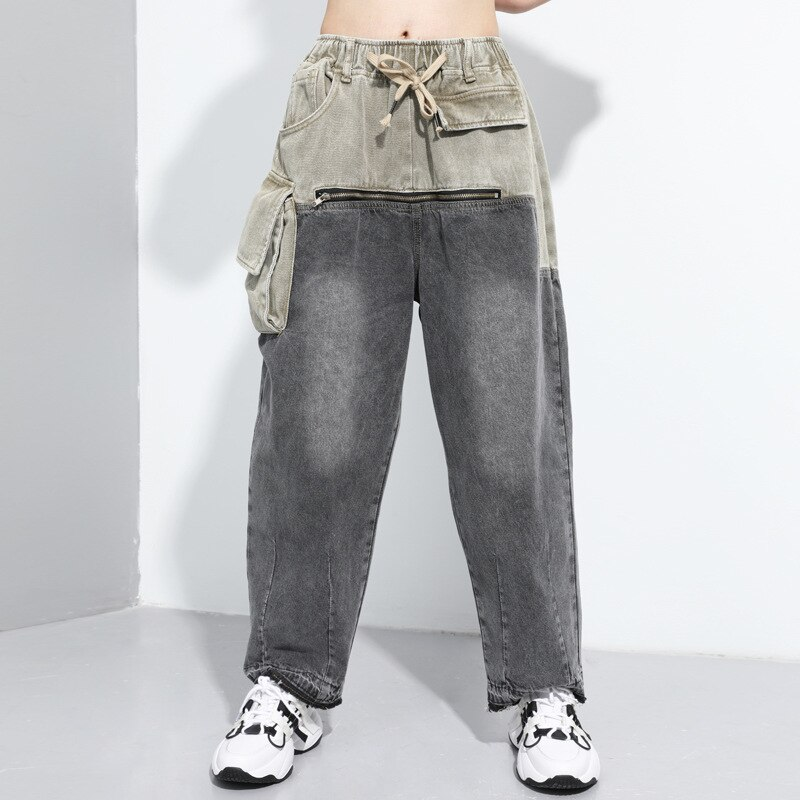 Ladies Casual Jeans Femme Straight Pants 2020 New Arrivals Zipper Jeans Woman Elastic Waist Push Up Ripped Denim Trousers Z2 2