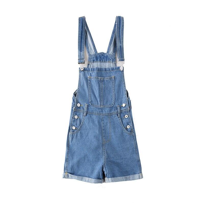 QMGOOD Summer Women Denim Overalls Fashion Playsuit Dungarees High Waist Jumpsuit Girls Short Jeans Blue Shorts Jumpsuits Female 3
