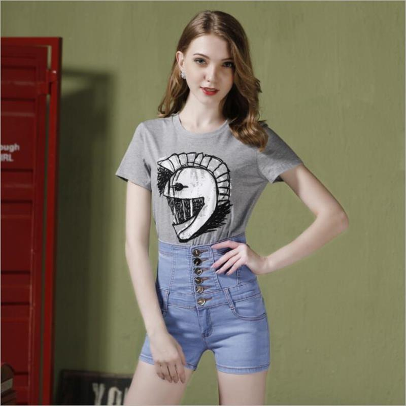 2019 new hot sale women's spring summer casual straight jeans shorts ladies big yards elastic high waist denim shorts S-5XL 1