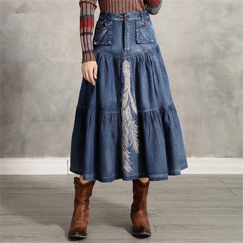 Women's Denim Skirt 2020 Vintage Women A line Embroidery Skirts Patch Pocket Saia Feminina Long Girl's Skirt 1