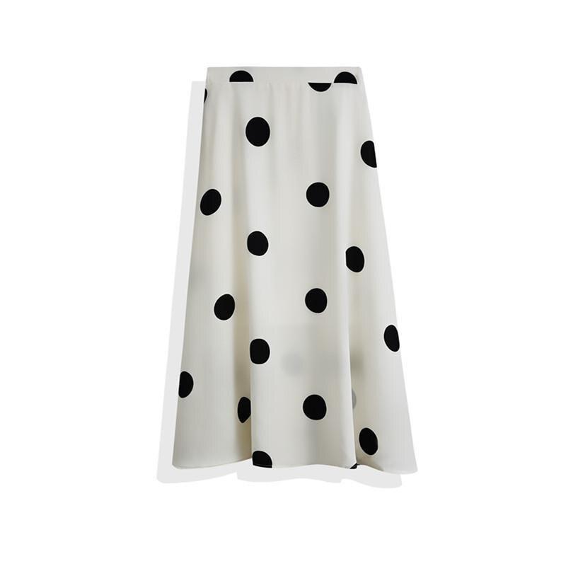 2020 Summer New Women Simple Polka Dot Chiffon A-line Pleated Skirt High Waist Was Thin Casual Women Long Skirt Free Shipping 1