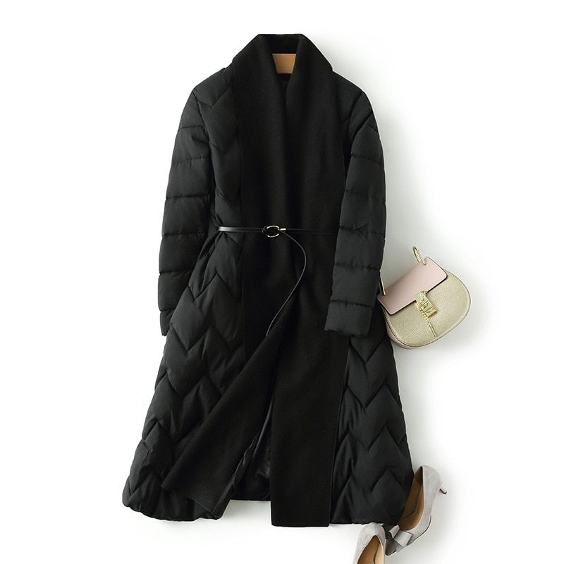 Original fashion style winter long women's jacket thicken coat loose cotton padded parkas cloak type outwear soft comfortable 2