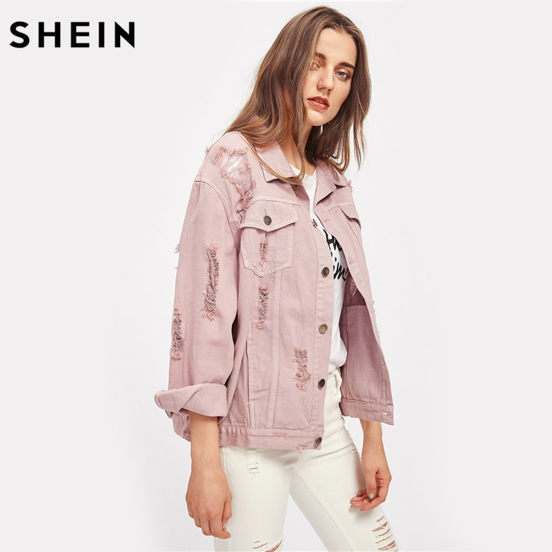 SHEIN Rips Detail Boyfriend Denim Jacket Autumn Womens Jackets and Coats Pink Lapel Single Breasted Casual Fall Jacket 3