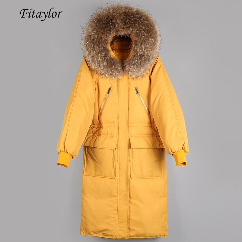 Fitaylor Women Down Jacket Warm Large Natural Fur Collar Hooded 90% White Duck Down Parkas Casual Female Thick Loose Outwear 1