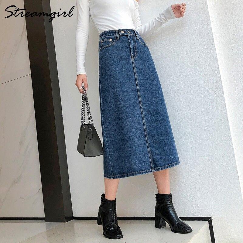 Women Skirt Denim Long Slim Jeans 2019 Autumn Vintage Skirts For Women Long Skirts Jeans Woman Maxi Plus Size Skirt High Waist 4