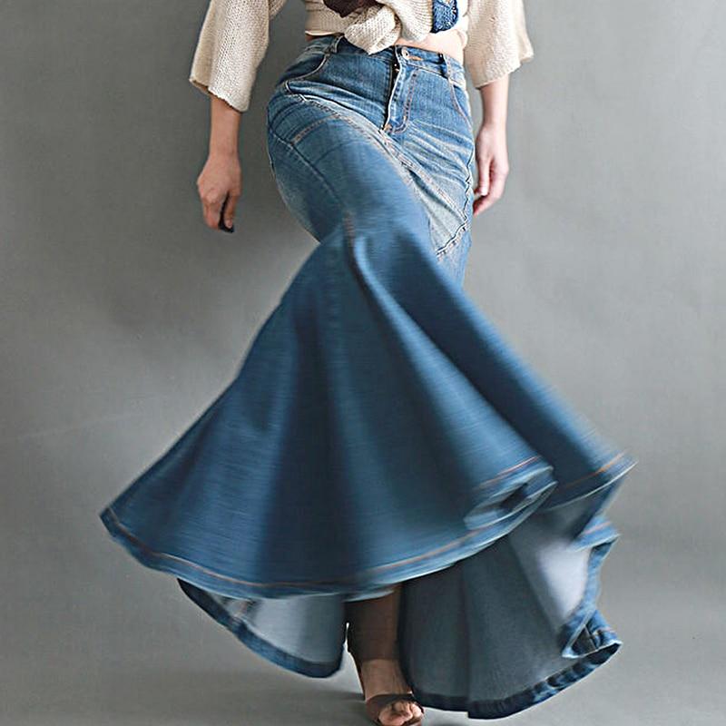 Women's Casual Stretch Waist Washed Denim Ruffle Fishtail Skirts Long Jean Skirt 4