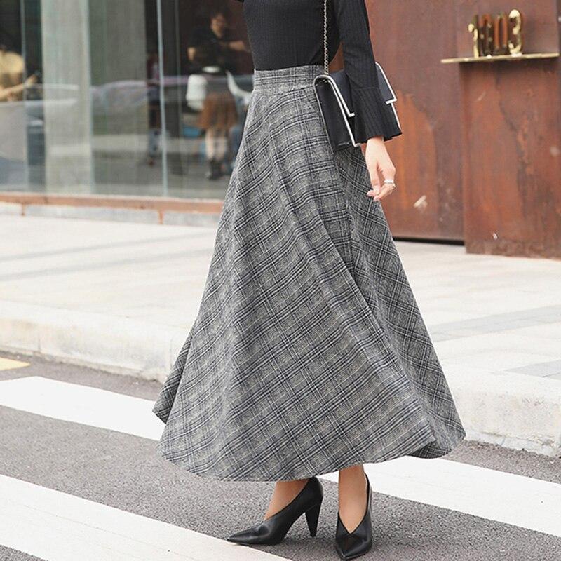 Elegant Plaid Warm Wool Womens Long Skirts Winter High Waist Streetwea Ladies Woolen A-Line Skirt Casual Female Saia Longa 3
