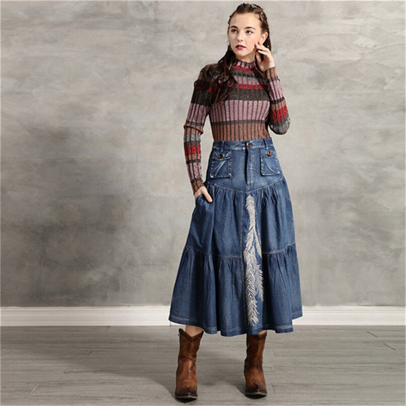 Women's Denim Skirt 2020 Vintage Women A line Embroidery Skirts Patch Pocket Saia Feminina Long Girl's Skirt 3
