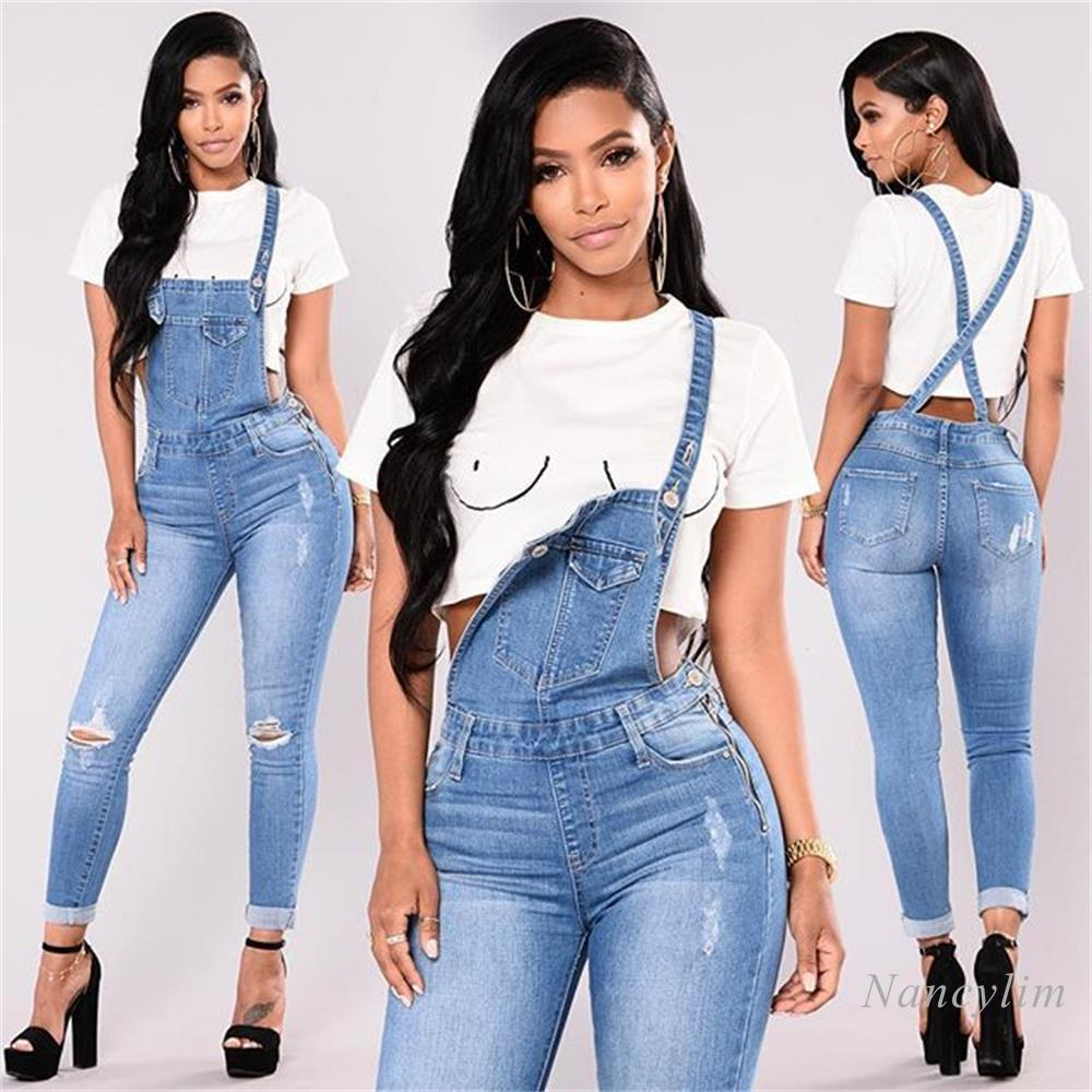 Loose Overalls Jeans Women 2020 New European and American Ripped Lace Jeans Pants Lady Casual Shoulder Strap Denim Pants 2