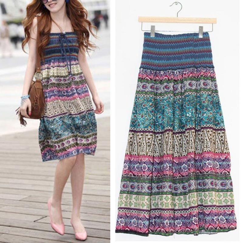 High Waist Boho Floral Women Long Skirt Pleated A-line Elastic Sashes Vintage Women's Skirts 2020 Spring Summer Fashion Clothes 3