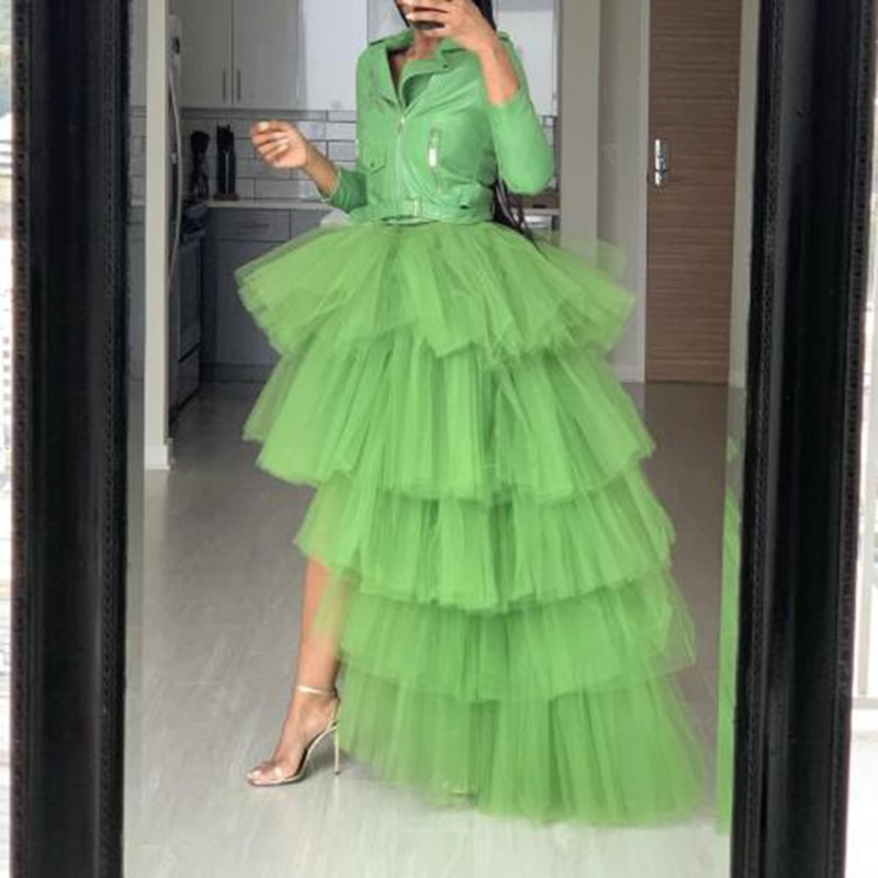 2020 Pretty Green High Low Tulle Skirts Elegant Puffy Tulle Ruffle Elastic Waist Maxi Skirt Chic Tiered Tulle Women Long Skirt 3
