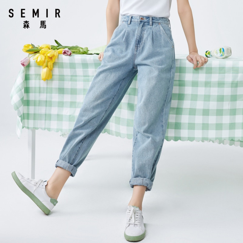 SEMIR Women cotton jeans 2020 summer new loose high waist demin pants trend straight simple ladies casual jeans for travel 1