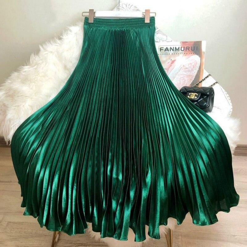 Korean Women Fashion Pleated Satin Long Skirt Female Chic Streetwear Elastic High Waist Red Skirts Saia 2020 Spring Summer FY316 3